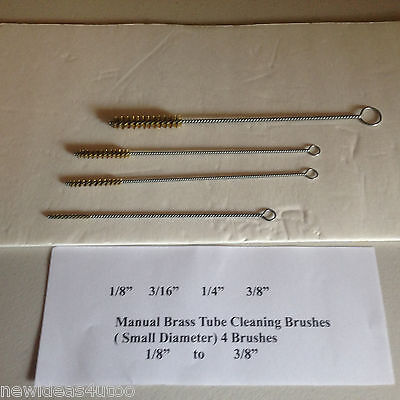 Brass Tube Cleaning Brushes (manual) small diameter-  4 pack)