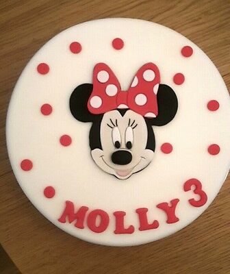 Edible Handmade Sugar Minnie Mouse Personalised Birthday Cake Topper Decoration