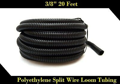 "New 20' Feet 3/8"" Black Split Loom Wire Flexible Tubing Wire Cover Stereo Auto"