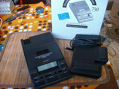 Philips 730 Mini Cassette Transcription System LFH 0730/00 With Foot Pedal