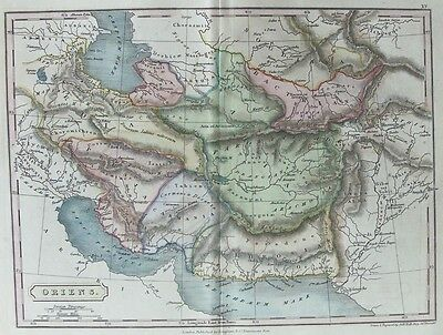 OLD ANTIQUE MAP MIDDLE EAST ORIENS c1820's by S HALL 19th C ANTIQUE ENGRAVING