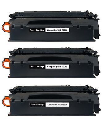 3 Pack Compatible HP Q7553X Black Toner Cartridge for LaserJet P2015