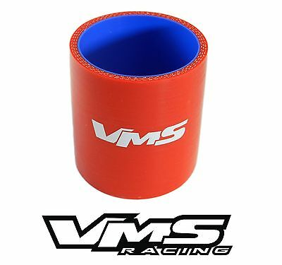 """VMS RACING 3 PLY REINFORCED SILICONE STRAIGHT COUPLER - 2.25"""" RED"""