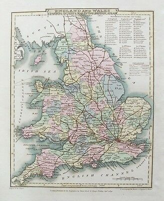 OLD ANTIQUE MAP ENGLAND & WALES UK c1809 by ROPER / COLE 19th CENTURY ENGRAVING