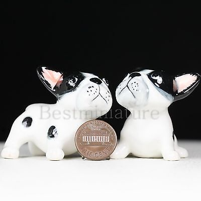 2 French Bull Dogs Puppy Ceramic Pottery Statue Animal Miniature Figurine (B&W)