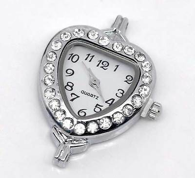 Wholesale Lots Silver Tone White Rhinestone Heart Quartz Watch Faces 32mmx26mm