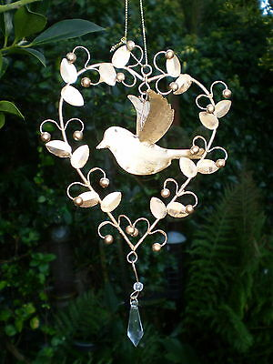 Danish Christmas Heart  Gold Metal & Jewelled Dove, Tree Or Window Decoration