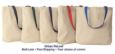Lot of 100 BIG Heavy Canvas TOTE BAGS! Thick Grocery Shop Color BULK LOT Blank