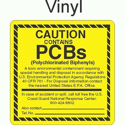 PCB0166 Caution - Contains PCB's Vinyl (roll of 100) GC LABELS