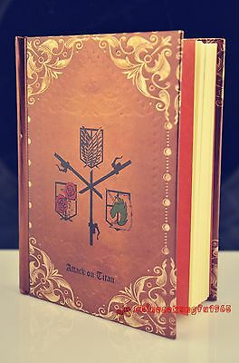 Large Attack on Titan Paper Embossed Bound Journal Diary Notebook Vintage Ratro