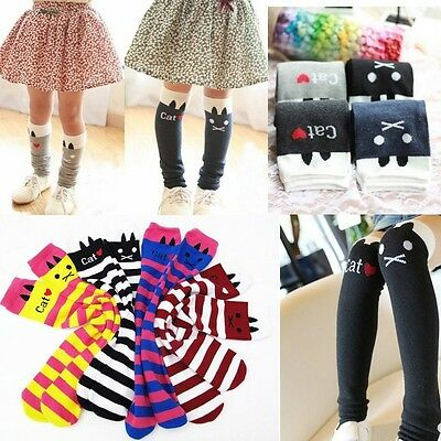Toddlers Kids Girls Cotton Cat Striped Soft Knee High Socks 1-8Y Tights KHS005