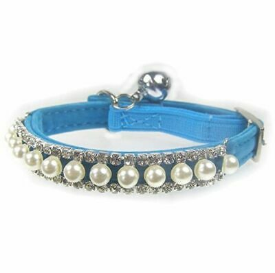 ~*~Cat Safety Collar Pearl Diamanté Crystal Suede~Black-Blue-Pink-Red~30cm~*~