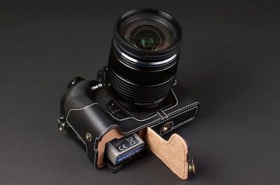Genuine real Leather Half Camera Case bag for Olympus OM-D E-M1  Bottom Open B