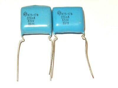 0.22uF 630V PETP Capacitors. K73-17. Lot of 20 NOS.