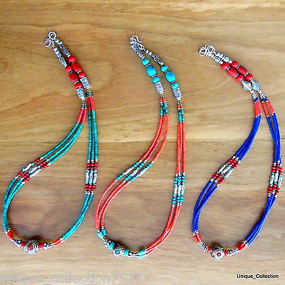 Turquoise Coral Necklace - Nepalese Tibetan Handmade Ethnic Necklaces NL111