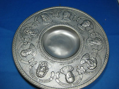 """Dia 9"""" Antique German Embossed & Engraved Pewter Decorative Plate  with Hanger"""