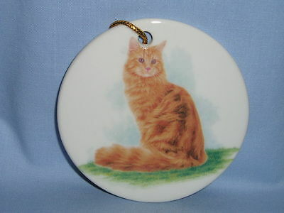 Orange Sitting Cat Porcelain 3 In Round  Christmas Tree Ornament Fired Decal