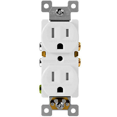 100PK Tamper Resistant Duplex Receptacles 15A 125V Outlet Child-Safe Plug White