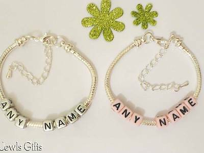 kids silver name bracelet silver or pink  girl  boys choice in gift pouch childs