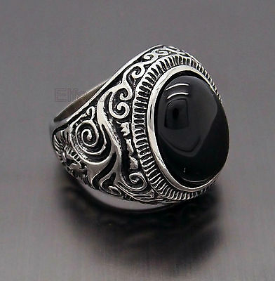 Mens Large Natural Oval Genuine Onyx Gemstone Stainless Steel Ring US Size 8-15