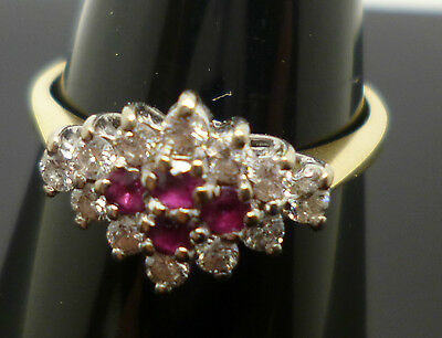 18ct yellow gold ruby and diamond cluster ring with full hallmark DHM T38