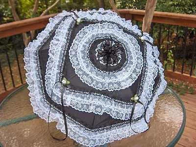 """NEW rows of FANCY hand sewn """"LOLITA"""" VICTORIAN/GOTHIC BLACK/WHITE LACE PARASOL"""