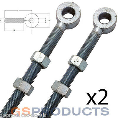2 of 12mm x 65mm Bright Zinc Plated Swing Gate Eye Bolt with 2 Nuts (Gate Hinge)