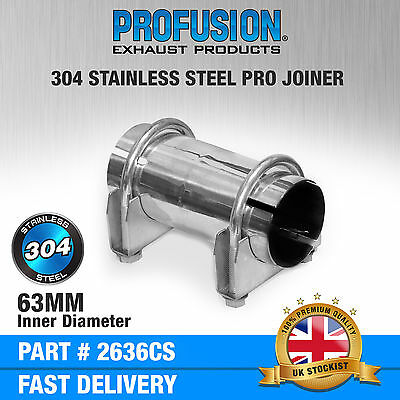 """2.5""""inch Stainless Steel Clamp on Exhaust pipe joiner connector sleeve tube"""