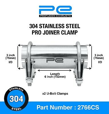 """3"""" 76mm 304 Stainless Steel Clamp On Exhaust Pipe Joiner Connector Sleeve Repair"""