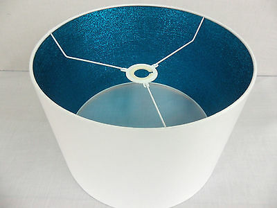 "Hand Made 16 "" White Cotton Lampshade With Turquoise Shimmer Inner"