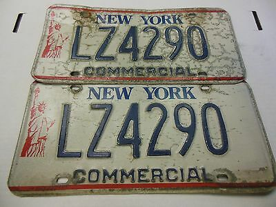 New York Commercial License Plates Matched Pair 1980s Liberty LZ4290 USED