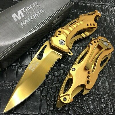 MTech USA Gold Blade Hunting Camping Tactical Rescue Pocket Knife MT-A705GD