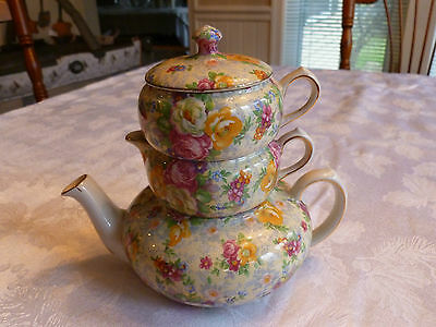"Lord Nelson Ware Chintz ""Rose Time"" Stackable Teapot, Sugar, Creamer"