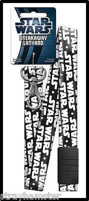 STAR WARS Breakaway LANYARD Keychain ID Holder OFFICIAL Collectible black white