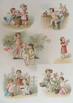 OLD PRINT CHERUBS CUPIDS PLAYING c1890's 19th CENTURY ANTIQUE CHROMOLITHOGRAPH