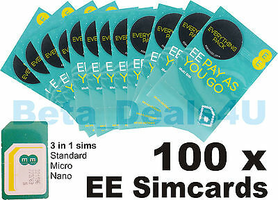 100 x EE PAY AS YOU GO 4G SIM CARDS UK NEW BULK NETWORK READY WHOLESALE JOBLOT