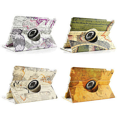 Accessories Luxury 360 Rotating PU Leather Map Case Cover Skin For iPad 5 Air