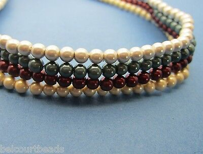 4 Strands Round 4mm Magnetic Hematite Beads Green, Burgundy, Cream & Beige 400pc