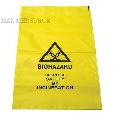 100x Biohazard Disposal, Clinical Waste Bags - Self Seal 20 x 35cm, Thick Yellow