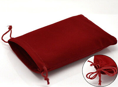 Wholesale Lots Red Velvet Pouch Jewelry Bags With Drawstring 15x10cm