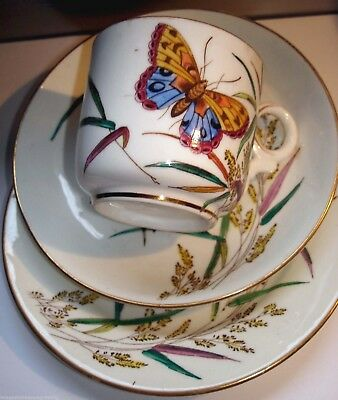 Very pretty antique cup, saucer & plate / trio w butterflies design