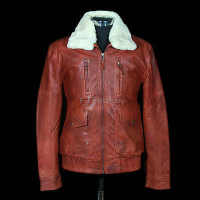Brayden Whisky Brown Mens Classic Bomber Fur Collar Winter Leather Flying Jacket