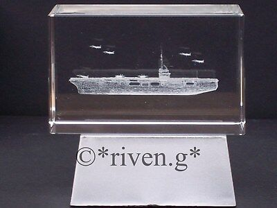 CRYSTAL Laser Block@3D AIRCRAFT CARRIER@PAPER-WEIGHT@Etched image@NAVY@MARINES