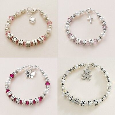 Personalised Child baby Christening Bracelet. Silver Pearl & Crystal.