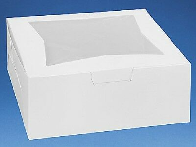 Pack of 10 WHITE 12x12x5 Window Bakery or Cake Box