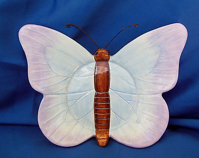 Lovely Ceramic Blue & Purple Butterfly Plate With Wire Antennae FAST SHIP!