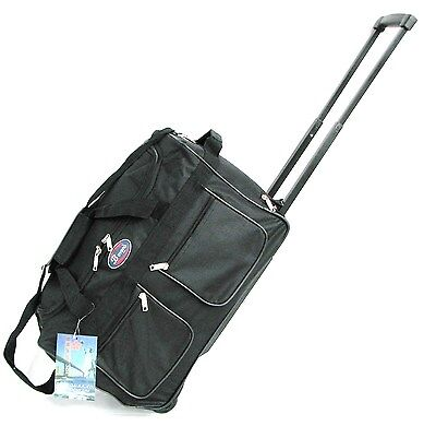 "20"" 40LB CAP BLACK ROLLING WHEELED DUFFLE BAG CARRYON LUGGAGE/SUITCASE W /HANDLE"