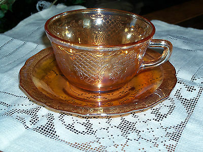 Vtg. Cup & 2 Saucers Iridescent Normandie Bouquet Lattice Marigold