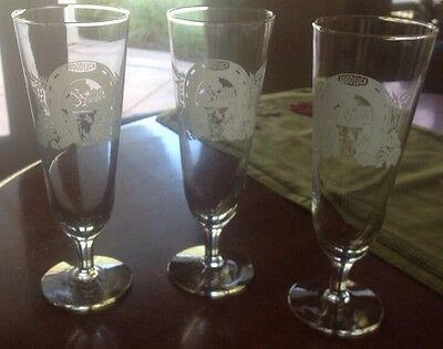 Lot of 3 Olympia Good Luck Pilsner Beer Glasses - Perfect Condition!