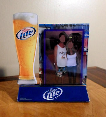 MILLER LITE BEER GLASS PLASTIC PICTURE FRAME TABLE TENT 6x7 SIGN COLLECTIBLE